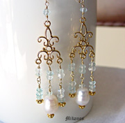 Aquamarine, White Freshwater Pearl, & Gold Vermeil Chandelier Dangle Earrings | Online upscale artisan handcrafted gemstone jewelry boutique | Schaef Designs Gemstone Jewelry | San Diego, CA