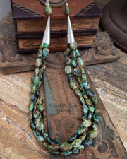 African turquoise 3 strand Old Santa Fe Style Necklace for Schaef Designs Gary G Rocki Gorman Pendants | upscale online Southwestern Equine Native American Jewelry gallery boutique | Schaef Designs artisan handcrafted Jewelry | New Mexico