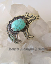 Albert Cleveland Native American artist signed sterling silver and turquoise bear pin pendant | online upscale native american jewelry boutique gallery| Schaef Designs Southwestern turquoise Jewelry | New Mexico