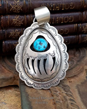 Huge Sterling Silver 3d & turquoise cut out bear paw pendant | Collectible Native American Turquoise online Jewelry gallery | Schaef Designs Collectible artisan handcrafted Southwestern & Equine Jewelry | New Mexico