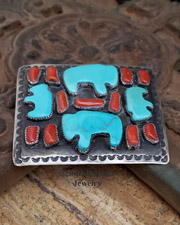 C Chamas artist signed Turquoise buffalo bison and red coral on sterling silver large unisex belt buckle | Schaef Designs artisan handcrafted Southwestern, Native American & Equine Jewelry | Online upscale southwestern equine jewelry boutique gallery | New Mexico