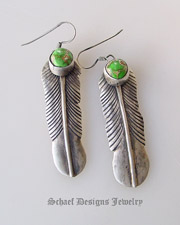 Green Carico Lake & sterling silver native american artist signed feather earrings | Schaef Designs artisan handcrafted Southwestern, Native American & Equine Jewelry | Online upscale southwestern equine jewelry boutique gallery |New Mexico
