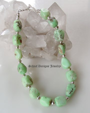 Chrysoprase nugget & sterling silver single strand adjustable necklace | online upscale southwestern equine jewelry gallery boutique | Schaef Designs Southwestern Turquoise Jewelry | New Mexico