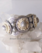 Schaef Designs deer antler crown  & Sterling silver cuff bracelet | Collectible Native American Turquoise online Jewelry gallery | Schaef Designs Collectible artisan handcrafted Southwestern & Equine Jewelry |New Mexico