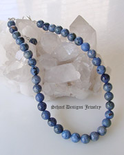 Denim dumortierite single strand Necklace for Schaef Designs Gary G Rocki Gorman Pendants | upscale online Southwestern Equine Native American Jewelry gallery boutique | Schaef Designs artisan handcrafted Jewelry | San Diego, CA