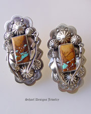 Schaef Designs Ribbon Turquoies & Feather Earrings | Schaef Designs Santa Fe Cross Collection | online Southwestern equine jewelry boutique gallery | Schaef Designs Southwestern Jewelry | New Mexico