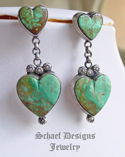 Gary G turquoise & sterling silver double heart post earrings | Vintage Collection | Native American Jewelry  | online upscale native american & southwestern jewelry boutique gallery| Schaef Designs Southwestern turquoise Jewelry | New Mexico