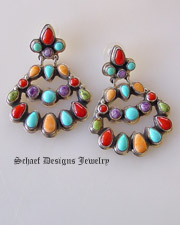 Multi stone chandelier native american post earrings artist signed by Geneva J A | charorite coral gaspeite turquoise & spiny oyster shell | Upscale Native American Southwestern & Equine Jewerly Gallery || online upscale Southwestern Native American Equine jewelry gallery boutique | Schaef Designs artisan handcrafted Jewelry |New Mexico