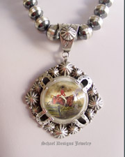 Schaef Designs Fox Hunt Scene Bridle Rosette & Sterling silver pendant | Collectible Native American Turquoise online Jewelry gallery | Schaef Designs Collectible artisan handcrafted Southwestern & Equine Jewelry |New Mexico
