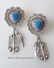 Schaef Designs Denim Lapis & sterling silver heart earrings with feathers | Upscale online Southwestern, Equine, & Native American Jewelry Gallery Boutique | Schaef Designs Jewelry | San Diego CA