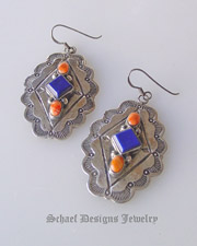 Vintage Pawn Lapis, Orange Spiny Oyster shell, & sterling silver diamond concho wire Earrings | Native American Turquoise online Jewelry Gallery | Schaef Designs Collectible artisan handcrafted Southwestern & Equine Jewelry | New Mexico