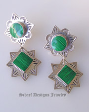 Malachite & Sterling Silver Vintage Post Dangle Earrings | Mexico | Upscale online Southwestern, Equine, & Native American Jewelry Gallery Boutique | Schaef Designs artisan handcrafted Jewelry |New Mexico