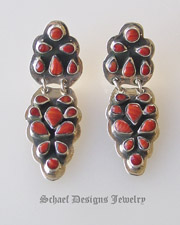 Artist signed red coral & sterling silver mini cluster post earrings  | Schaef Designs artisan handcrafted Southwestern, Native American & Equine Jewelry | Online upscale southwestern equine jewelry boutique gallery |New Mexico