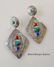 Old Pawn diamond concho & lapis turquoies coral multi stone post Earrings | | online upscale Southwestern Native American Equine jewelry gallery boutique | Schaef Designs artisan handcrafted Jewelry | New Mexico