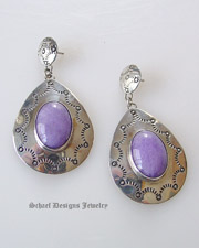 Nakai purple lavendar & sterling silver concho dangle post earrings | online upscale Southwestern Native American Equine jewelry gallery boutique | Schaef Designs artisan handcrafted Jewelry |New Mexico