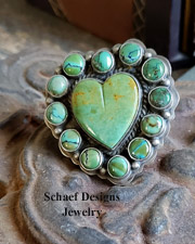 Native American Lacey artist signed green turquoise heart rings | Schaef Designs artisan handcrafted Southwestern, Native American & Equine Jewelry | Online upscale southwestern equine jewelry boutique gallery | New Mexico