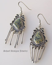 Schaef Designs artist signed New Lander Turquoise & Sterling silver dangles french wire earrings | Collectible Native American Turquoise online Jewelry gallery | Schaef Designs Collectible artisan handcrafted Southwestern & Equine Jewelry | New Mexico