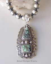 Schaef Designs artist signed New Lander Turquoise & Sterling silver pendant & necklace | Collectible Native American Turquoise online Jewelry gallery | Schaef Designs Collectible artisan handcrafted Southwestern & Equine Jewelry | New Mexico