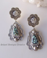 Schaef Designs artist signed New Lander Turquoise & Sterling silver double post earrings| Collectible Native American Turquoise online Jewelry gallery | Schaef Designs Collectible artisan handcrafted Southwestern & Equine Jewelry | New Mexico