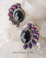 Purple paua shell & black onyx post earrings | | online upscale Southwestern Native American Equine jewelry gallery boutique | Schaef Designs artisan handcrafted Jewelry |New Mexico