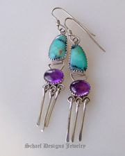 Deep turquoise Peruvian Opal, Amethyst & Sterling Silver artist signed wire earrings | Native Amercian artist signed Online Upscale Turquoise Jewelry boutique | Schaef Designs Turquoise  Jewelry | New Mexico