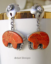 Rocki Gorman Apple sponge Coral Bear Fetish Earrings | upscale Turquoise & Native American Jewelry Gallery Boutique | Schaef Designs Southwestern & Equine Jewelry | New Mexico
