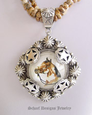 Schaef Designs Paint Horse Bridle Rosette & Sterling silver pendnat on oxidized 10mm sterling silver bench bead necklace | Schaef Designs artisan handcrafted Southwestern, Native American & Equine Jewelry | Online upscale southwestern equine jewelry boutique gallery |New Mexico