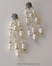 Schaef Designs Marcasite pearl chandelier post earrings  | upscale online Southwestern Equine Native American Jewelry gallery boutique | Schaef Designs artisan handcrafted Jewelry | New Mexico