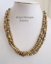 Picture jasper Sterling silver 3 strand adjustable necklace | online upscale southwestern equine jewelry gallery boutique | Schaef Designs Southwestern Turquoise Jewelry | New Mexico