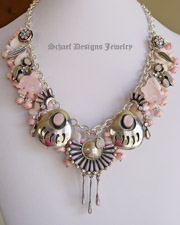 Schaef Designs Pink Mother of Pearl, Rhodochrosite & Sterling Silver Native American & Vintage Charm Necklace | Schaef Designs artisan handcrafted Southwestern, Native American & Equine Jewelry | Online upscale southwestern equine jewelry boutique gallery |New Mexico