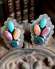 Platero Spiny Oyster shell & turquoise clip Earrings | Upscale Native American Southwestern & Equine Jewerly Gallery | buy online | Schaef Designs artisan handcrafted jewelry | New Mexico