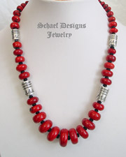 Red coral & Sterling silver 3 strand adjustable necklace | online upscale southwestern equine jewelry gallery boutique | Schaef Designs Southwestern Turquoise Jewelry | New Mexico