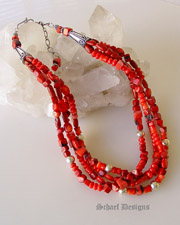 Beautiful Red Coral & Sterling Silver Necklace great for Rocki Gorman Pendants |Schaef Designs Jewelry | New Mexico