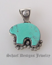 Rocki Gorman by Gary G turquoise bear pendant | totem animal jewelry | Native American Jewelry  | online upscale native american & southwestern jewelry boutique gallery| Schaef Designs Southwestern turquoise Jewelry | New Mexico