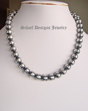 Schaef Designs 10mm oxidized sterling silver navajo pearl long necklaces | 16 inch, 32 inch, 35 inch, 16 inch | Collectible Native American Turquoise online Jewelry gallery | Schaef Designs Collectible artisan handcrafted Southwestern, deer antler & Equine Jewelry |New Mexico