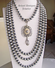 Schaef Designs 12mm oxidized sterling silver navajo pearl long necklaces | 16 inch, 32 inch, 35 inch, 36 inch | Collectible Native American Turquoise online Jewelry gallery | Schaef Designs Collectible artisan handcrafted Southwestern, deer antler & Equine Jewelry | New Mexico