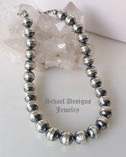 Schaef Designs 16mm oxidized sterling silver Navajo Pearls Southwestern necklace | great for Schaef Designs, Rocki Gorman, Gary G, Dan Dodson pendants | upscale online Native American Southwestern Equine Jewelry gallery boutique | Schaef Designs artisan hand-crafted jewelry | New Mexico