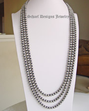 Schaef Designs 8mm navajo pearl oxidized sterling silver long necklaces |various lengths available | Vintage Collection | Native American Jewelry  | online upscale native american & southwestern jewelry boutique gallery| Schaef Designs Southwestern turquoise Jewelry | New Mexico
