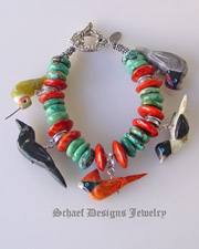 Schaef Designs Southwestern hubei turquoise, apple coral sterling silver & Matt Mitchell bird fetishes stacking bracelet | upscale Native American, Southwestern, turquoise, totem animal, equine, bridle rosette jewelry | online artisan handcrafted jewelry gallery | New Mexico