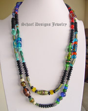 Schaef Designs vintage ethnic & trade bead collection long black onyx necklace | Vintage Collection  | online upscale native american & southwestern jewelry boutique gallery| Schaef Designs Southwestern turquoise Jewelry | New Mexico