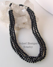 Schaef Designs 4 strand black onyx & sterling silver Southwestern necklace | great for Schaef Designs, Rocki Gorman, Gary G, Dan Dodson pendants | upscale online Native American Southwestern Equine Jewelry gallery boutique | Schaef Designs artisan hand-crafted jewelry | New Mexico