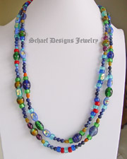 Schaef Designs vintage ethnic & trade bead collection long blue lapis necklace | great for Schaef Designs, Rocki Gorman, Gary G, Dan Dodson pendants upscale online Native American Southwestern Equine Jewelry gallery boutique | Schaef Designs artisan hand-crafted jewelry |New Mexico