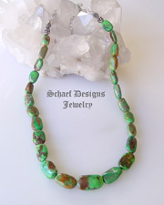 Green Carico Lake Turquoise Nugget necklace by Schaef Designs | Carico Lake Turquoise Jewelry | Native American Jewelry  | online upscale native american & southwestern jewelry boutique gallery| Schaef Designs Southwestern turquoise Jewelry | New Mexico
