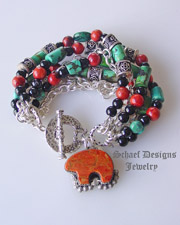 Schaef Designs chrysocolla, coral, onyx & sterling silver chain 7 strand bracelet with Rocki Gorman bear charm | Upscale online Southwestern, Equine, & Native American Jewelry Gallery Boutique | Schaef Designs artisan handcrafted Jewelry |New Mexico