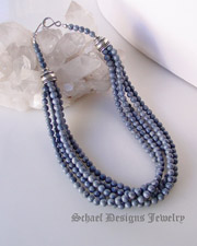 Schaef Designs denim blue coral & sterling silver 4 strand Southwestern necklace for Schaef Designs, Rocki Gorman, Gary G, and Dan Dodson pendants| Native American Jewelry  | online upscale native american & southwestern jewelry boutique gallery| Schaef Designs Southwestern turquoise Jewelry | San Diego, CA