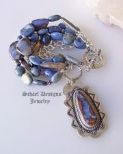 Schaef Designs boulder opal, dumortierite and sterling silver 7 strand bracelet with Southwestern boulder opal charm | denim jewelry collection | Native American Jewelry  | online upscale native american & southwestern jewelry boutique gallery| Schaef Designs Southwestern turquoise Jewelry | San Diego, CA