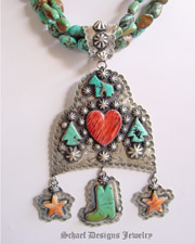 Schaef Designs Spiny heart & stars, turquoise arrowheads,horse, boot & sterling silver pendant | Vintage Collection | Native American Jewelry  | online upscale native american & southwestern jewelry boutique gallery| Schaef Designs Southwestern turquoise Jewelry |New Mexico
