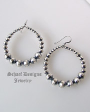 Schaef Designs large oxidized sterling silver bead navajo pearl hoop earrings | great for Schaef Designs, Rocki Gorman, Gary G, Dan Dodson pendants | upscale online Native American Southwestern Equine Jewelry gallery boutique | Schaef Designs artisan hand-crafted jewelry | New Mexico