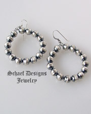 Schaef Designs Oxidized sterling silver bead navajo pearl medium hoop earrings | Vintage Collection | Native American Jewelry  | online upscale native american & southwestern jewelry boutique gallery| Schaef Designs Southwestern turquoise Jewelry | New Mexico