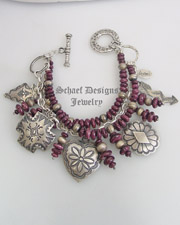 Schaef Designs purple spiny oyster shell and sterling silver 7 strand bracelet with Southwestern oyster shell heart charm by David Troutman | denim jewelry collection | Native American Jewelry  | online upscale native american & southwestern jewelry boutique gallery| Schaef Designs Southwestern turquoise Jewelry | New Mexico